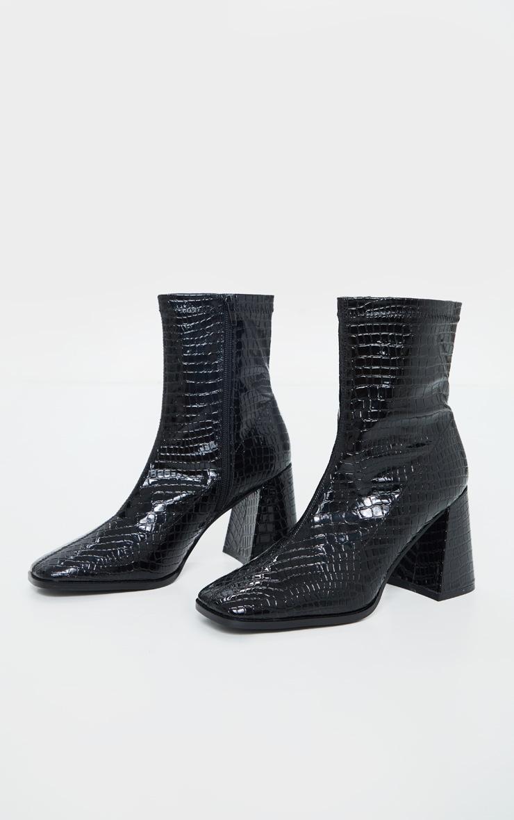 Black Croc Up Square Toe Mid Flare Block Heel Sock Boots 3