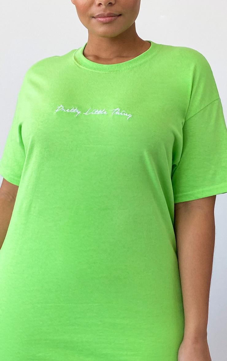 PRETTYLITTLETHING Plus Lime Slogan T Shirt 4