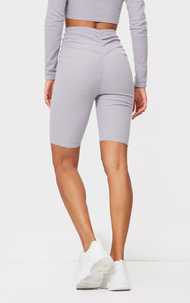 Light Grey Soft Brushed Rib Ruched Front Bike Shorts 3