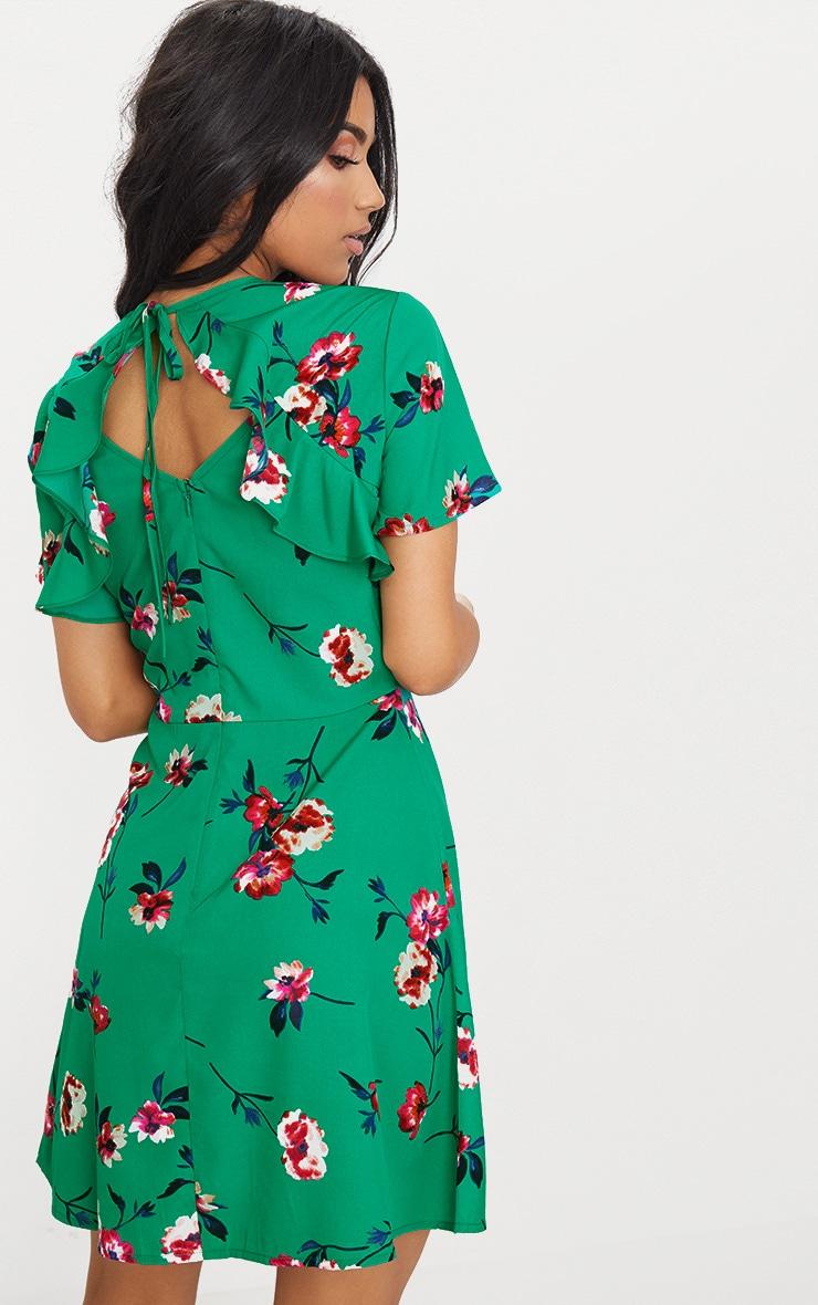 Emerald Green Floral Frill Back Tea Dress 2