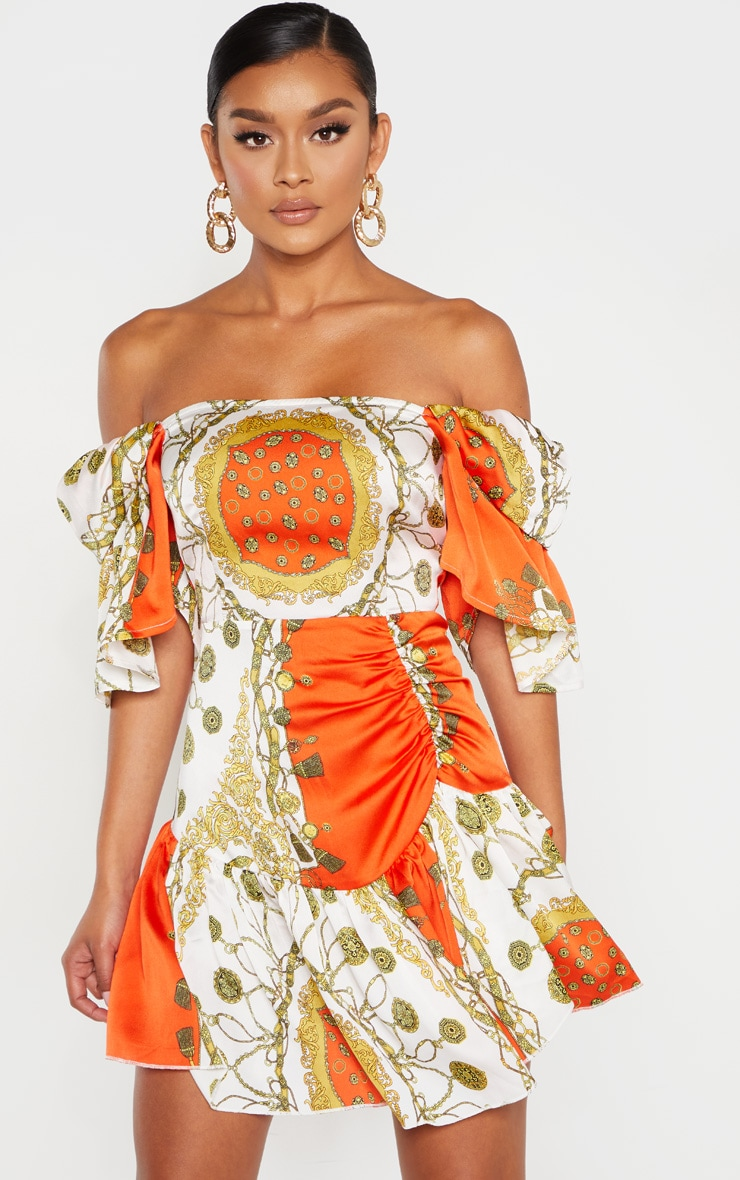 Robe droite orange imprimé chaîne à col bateau  1
