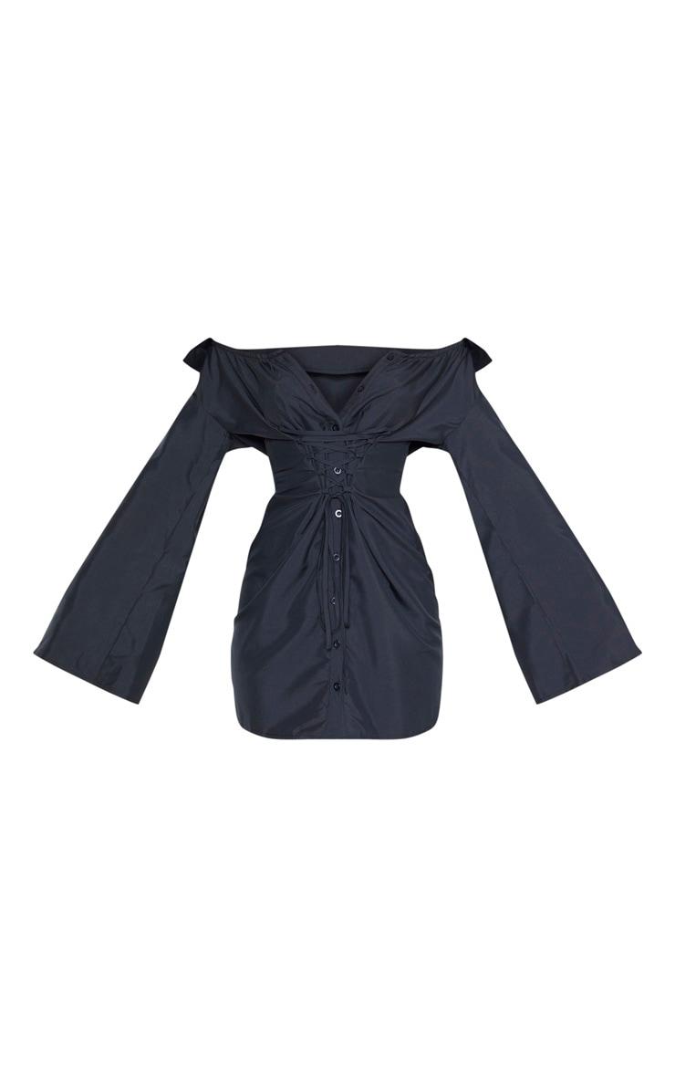 Black Bardot Flare Sleeve Lace Up Shirt Dress 3