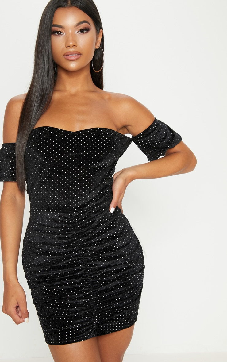 Black Studded Bardot Ruched Bodycon Dress 1