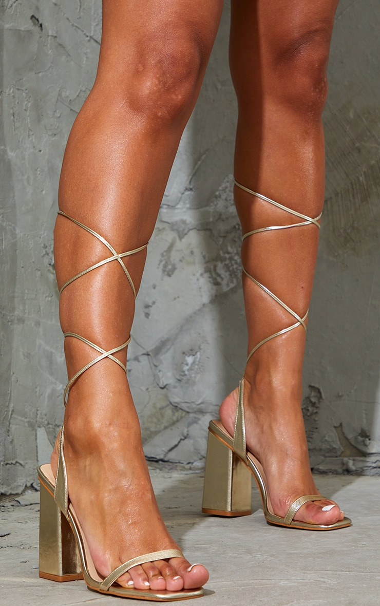 Gold PU Lace Up Block High Heels 2