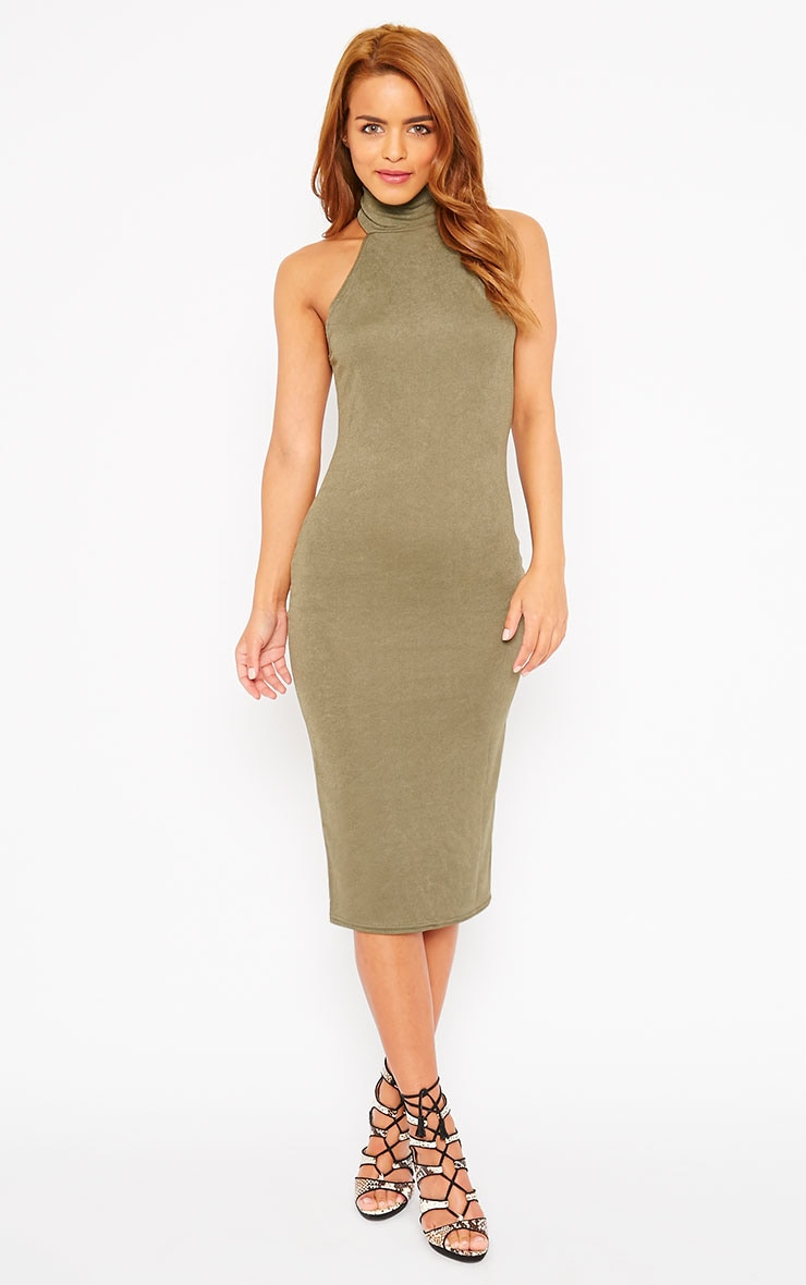 Sara Khaki Polo Neck Midi Dress 4