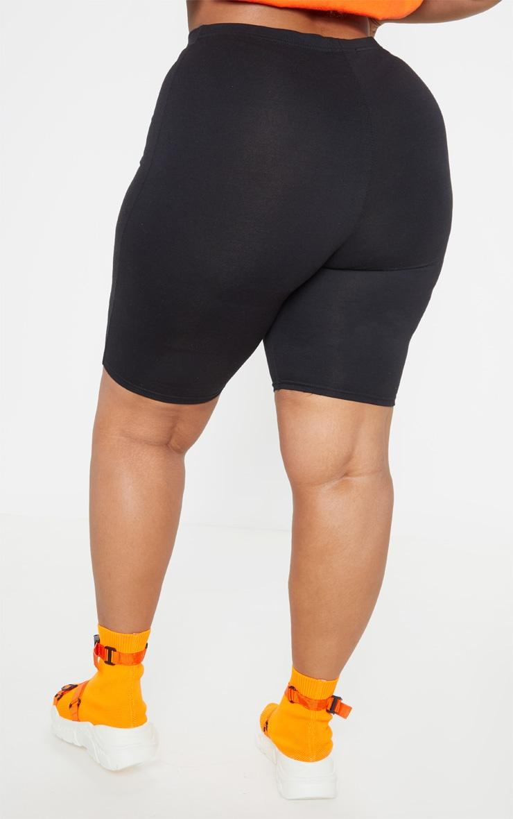 Plus Black Slogan Bike Shorts 5