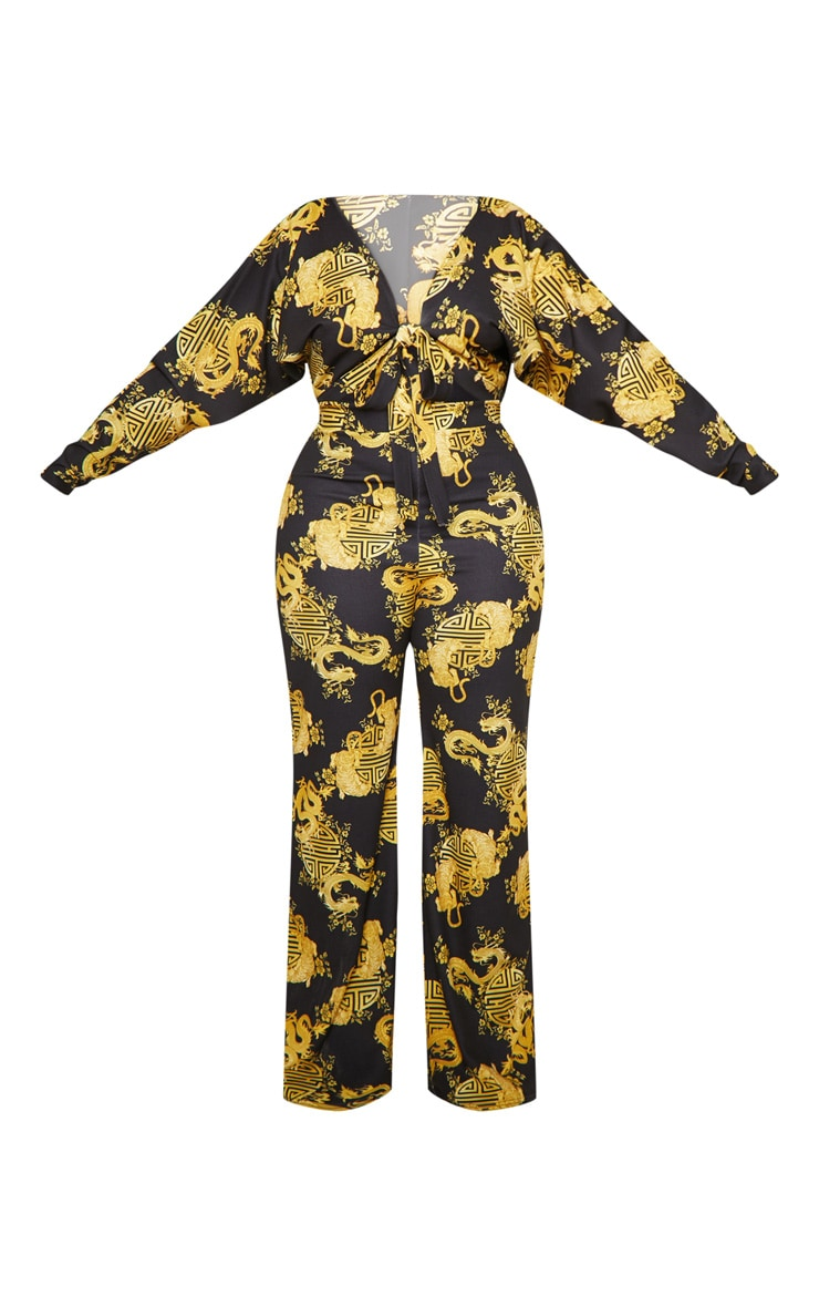Plus Black Dragon Print Tie Front Jumpsuit 4