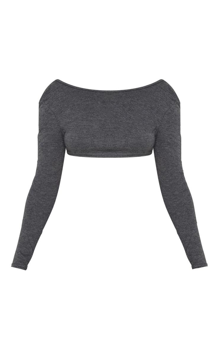 Petite Charcoal Tie Back Long Sleeve Jersey Crop Top 3