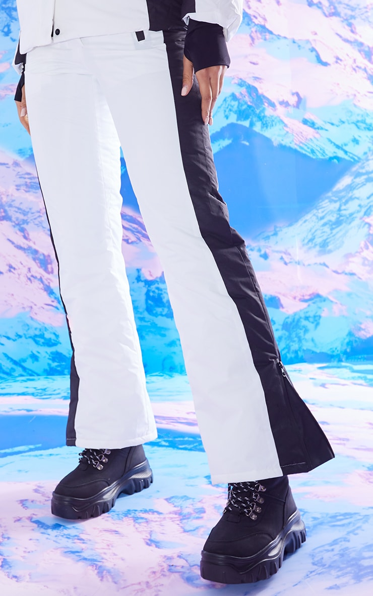 PRETTYLITTLETHING Ski White And Black Fit And Flare Ski Pants 2