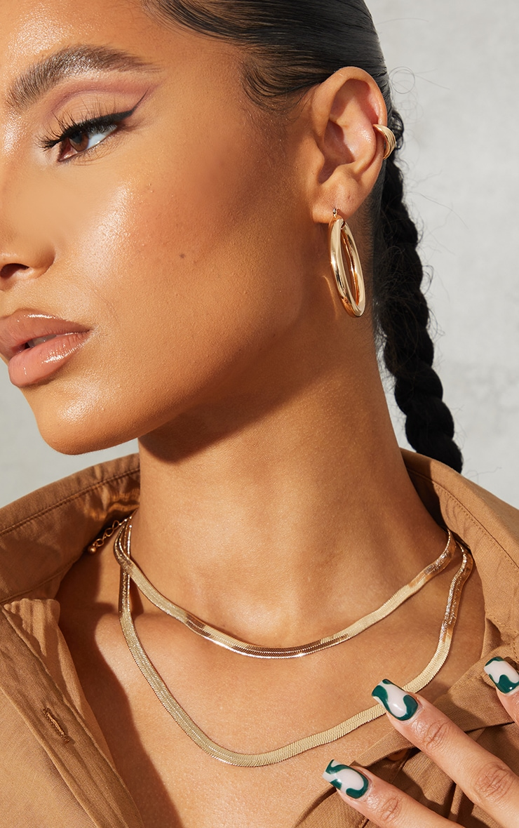 Gold Double Hoop And Necklace Pack 1