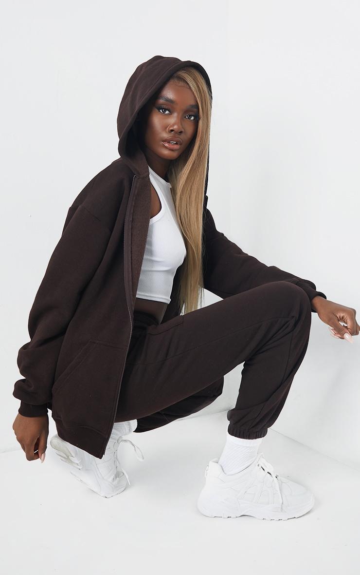 Tall - Hoodie très oversize marron chocolat à poches et zip 2