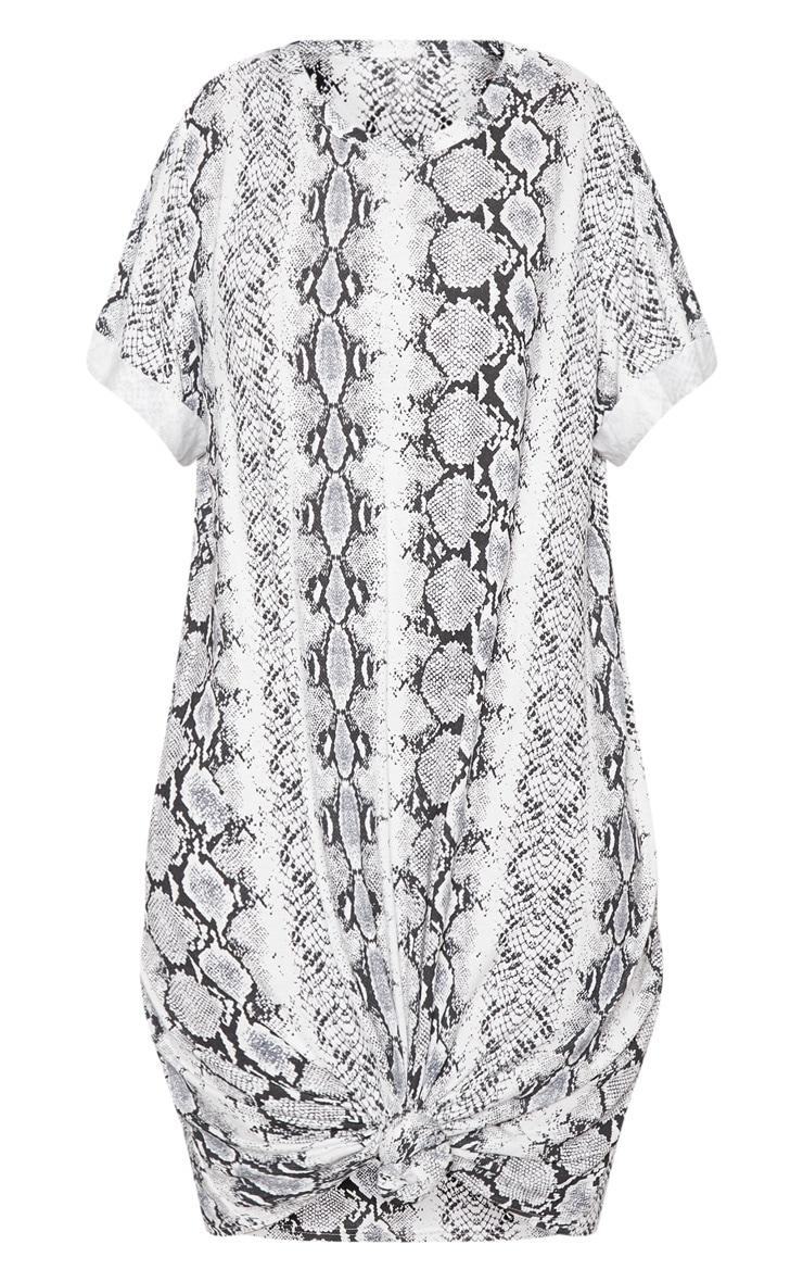 Grey Knot Detail T Shirt Dress 3