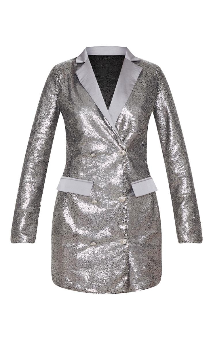 Pewter Sequin Button Detail Blazer Dress 3