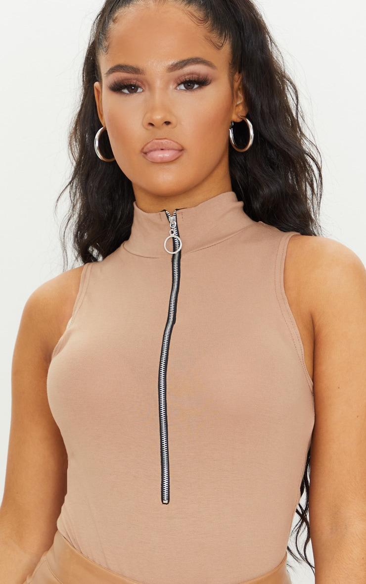 Sand High Neck Ring Zip Sleeveless Bodysuit 4