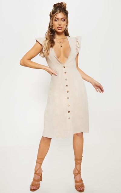 0cc59f83b0f78e Stone Frill Shoulder Button Front Midi Dress