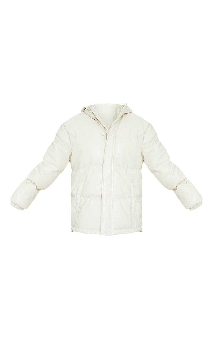 Cream Faux Leather Oversized Pocket Front Hooded Puffer 5