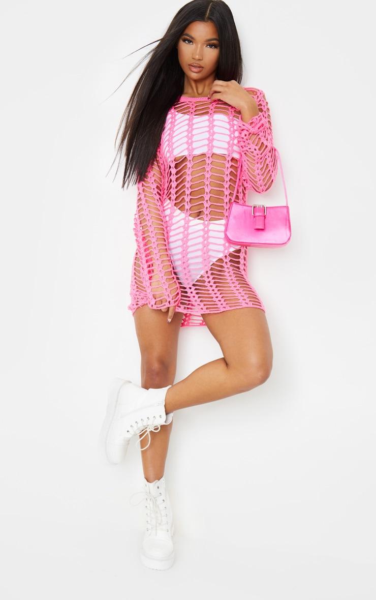 Hot Pink Crochet Ladder Detail Long Sleeve Dress 4