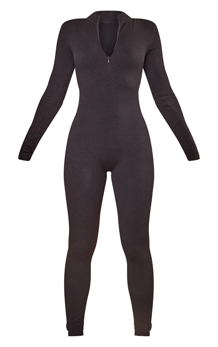 Black Zip Up Knitted Jumpsuit 5