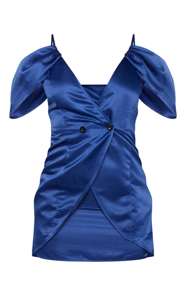 Navy Drape Sleeve Bardot Blazer Dress 3