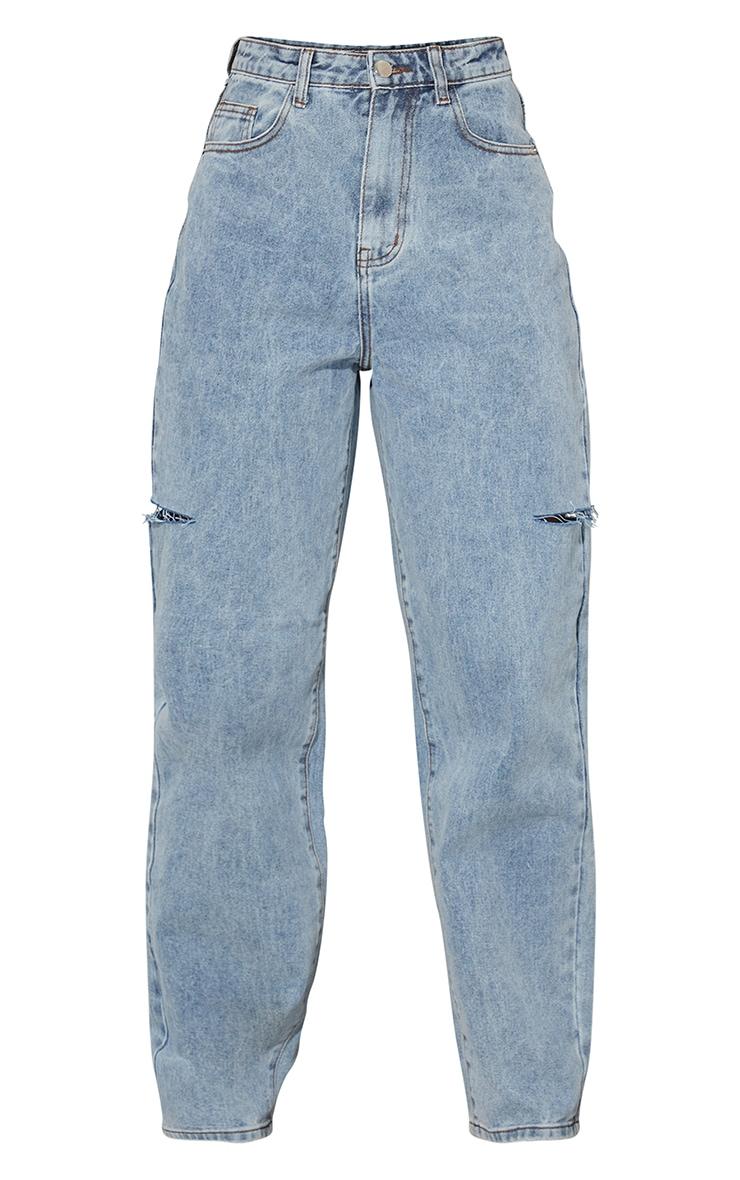 Grey Sand Wash Thigh Split Baggy Boyfriend Jeans 5