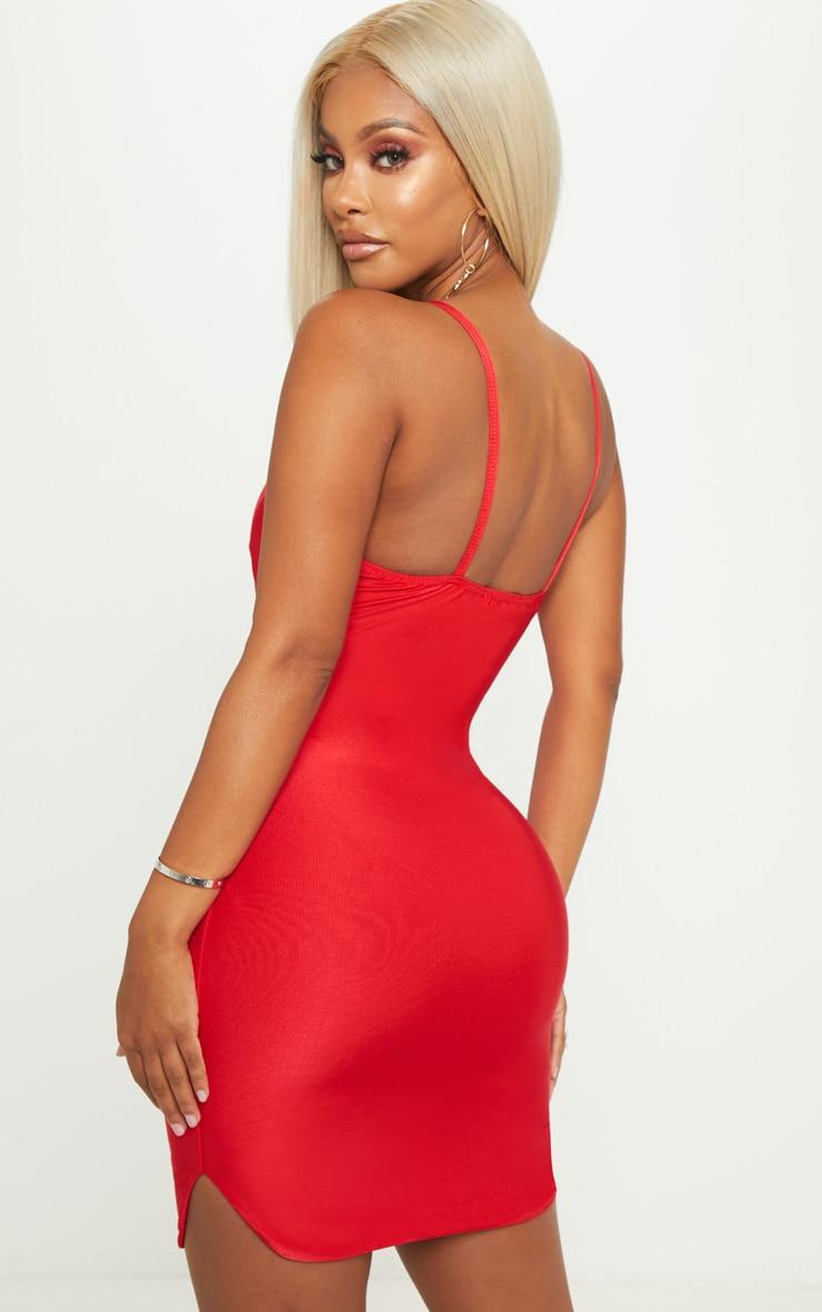 Shape - Robe moulante rouge décolletée à bretelles 3