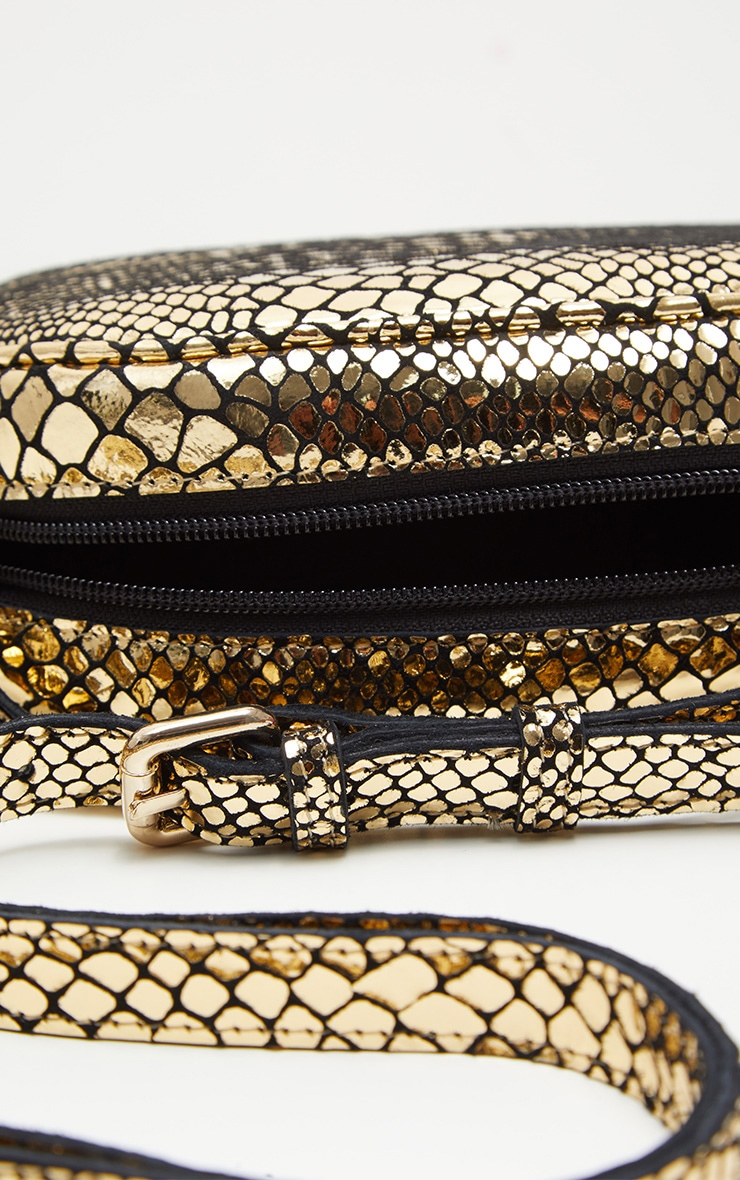 Gold Real Leather Croc Cross Body Bag 5