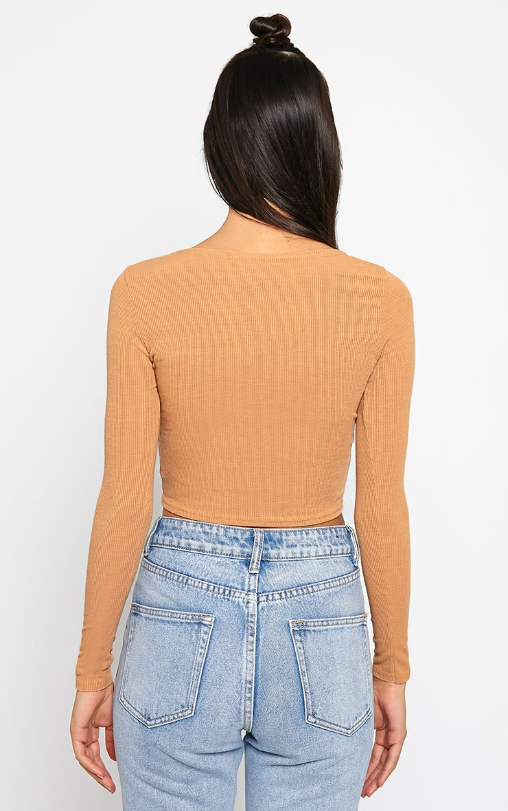 Basic Camel Ribbed Long Sleeve Crop Top 2