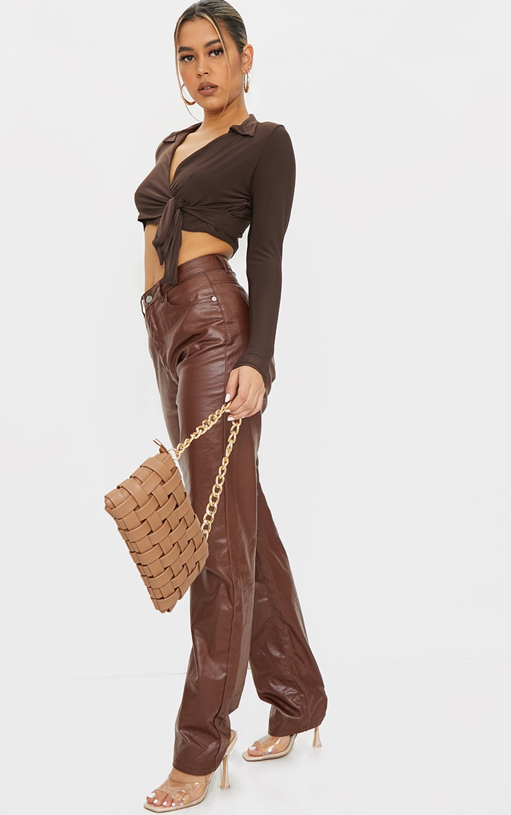 Chocolate Slinky Tie Front Cropped Blouse 3