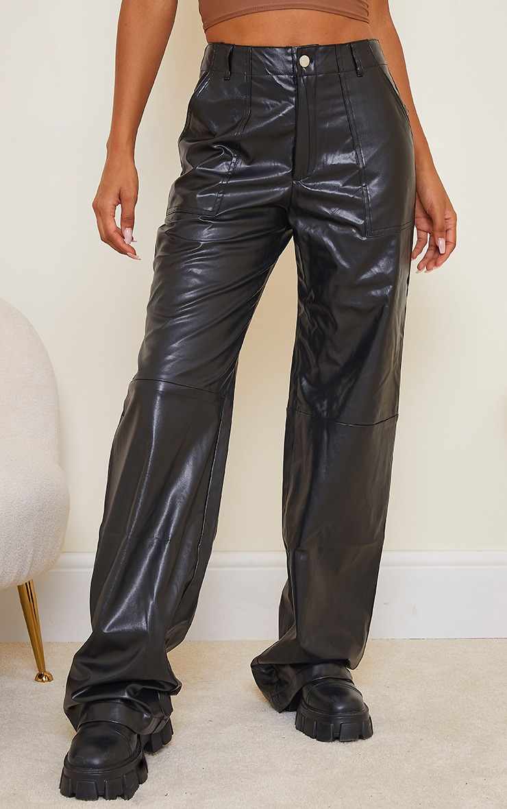 Black Faux Leather Stitch Detail Wide Leg Trouser 2