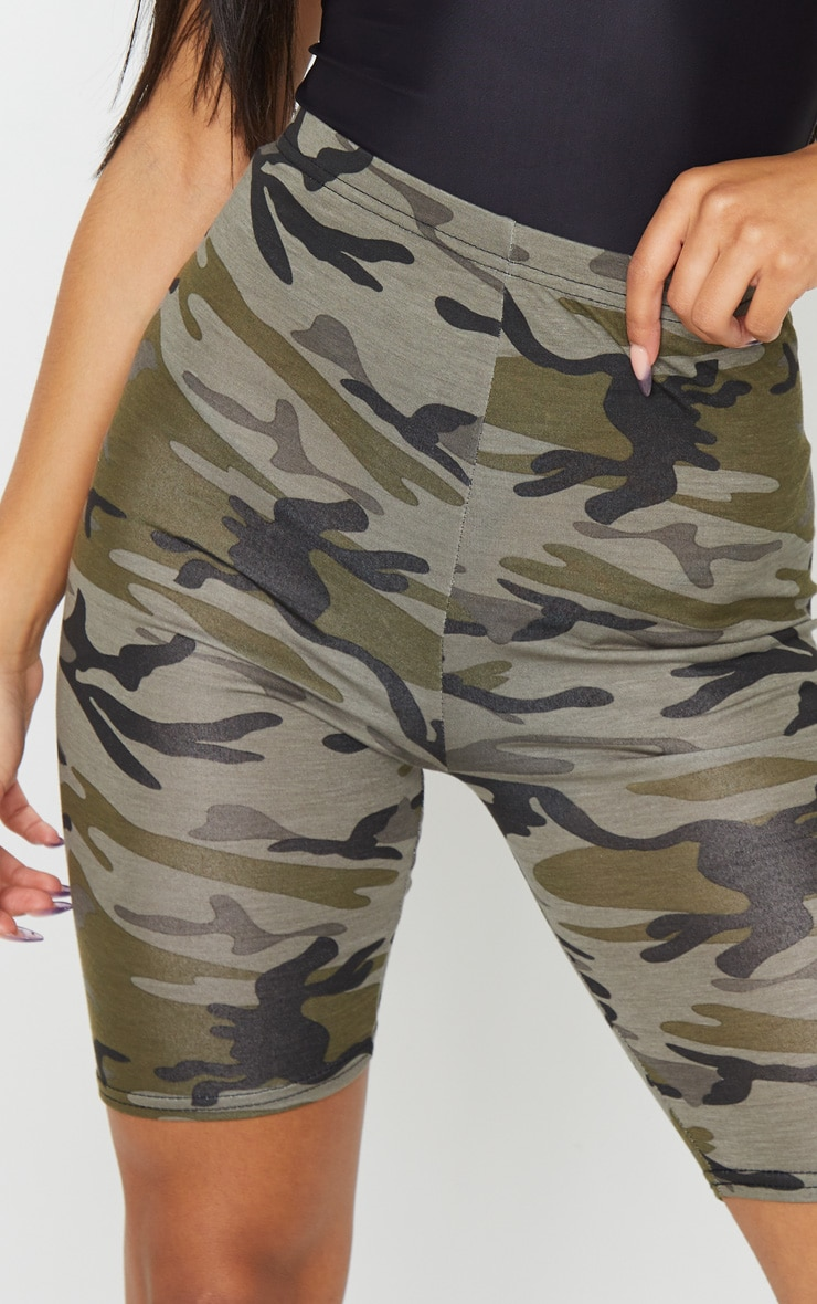 Khaki Camo Print Bike Shorts 5