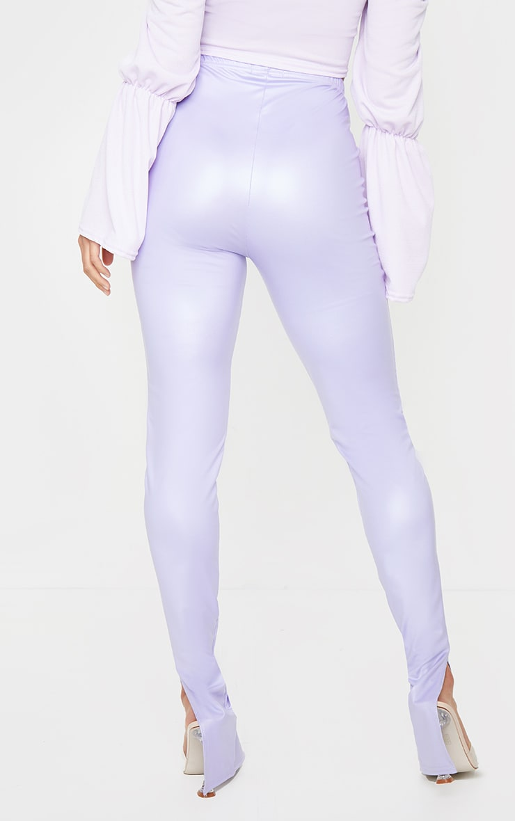 Petite Lilac Split Hem Coated PU Leggings 3