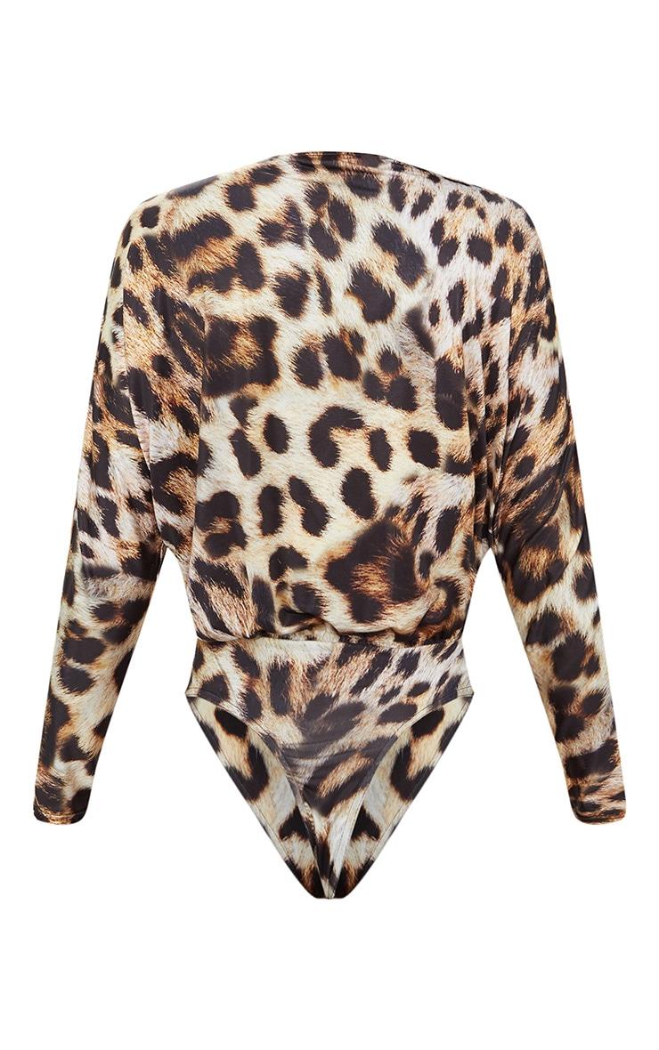 Tan Slinky Leopard Print Longsleeve Thong Bodysuit 4