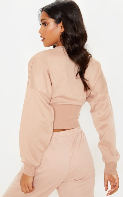 Nude Rib Extreme Hem Crop Sweater