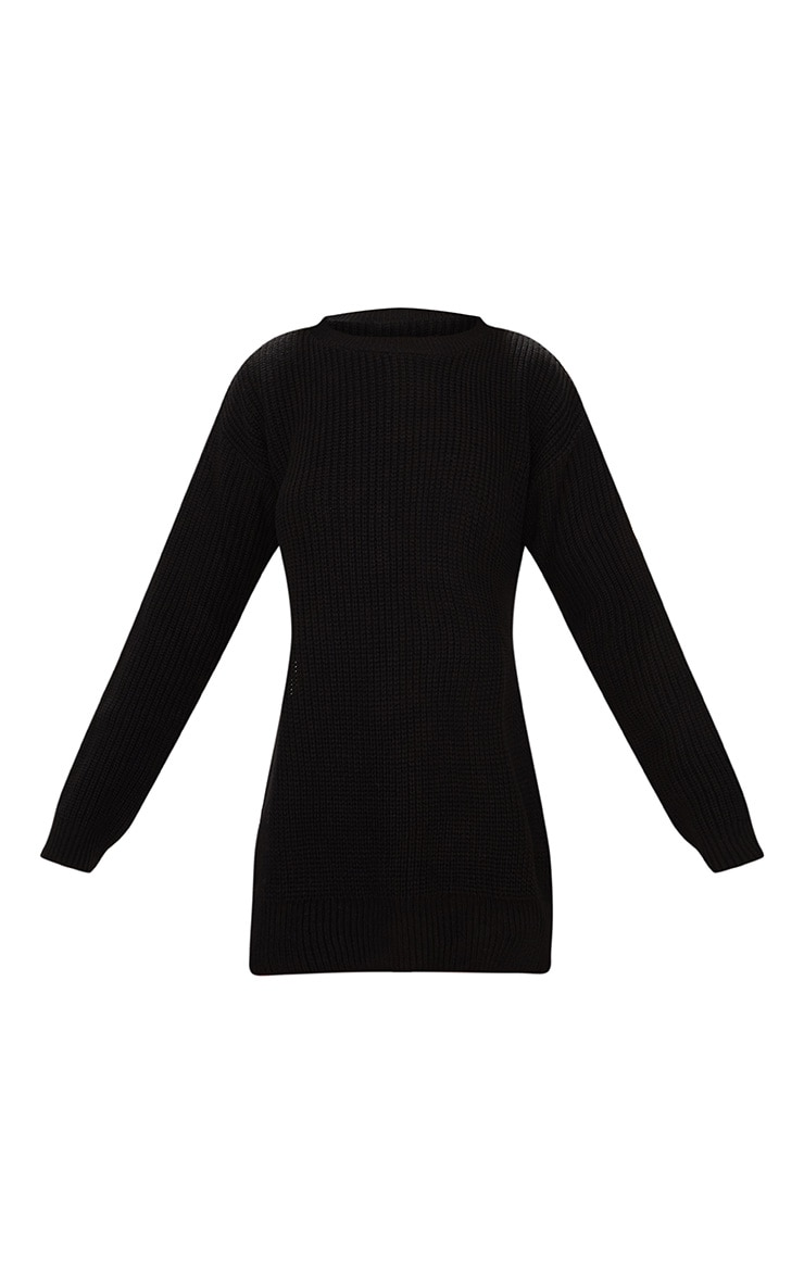 Black Round Neck Side Split Jumper 3