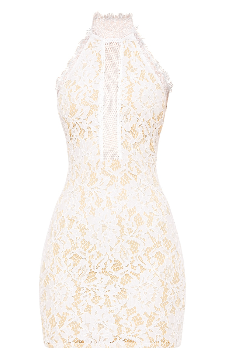 Shelby White Lace High Neck Bodycon Dress 3