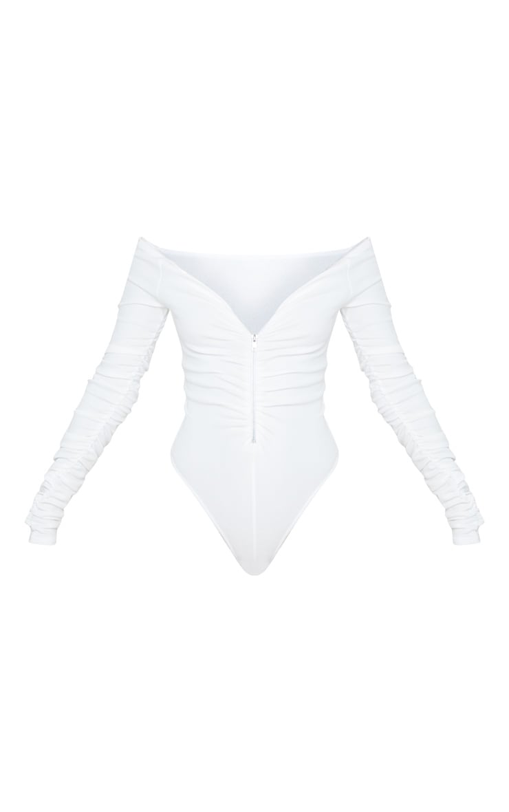 White Bardot Zip Ruched Sleeve Bodysuit 3