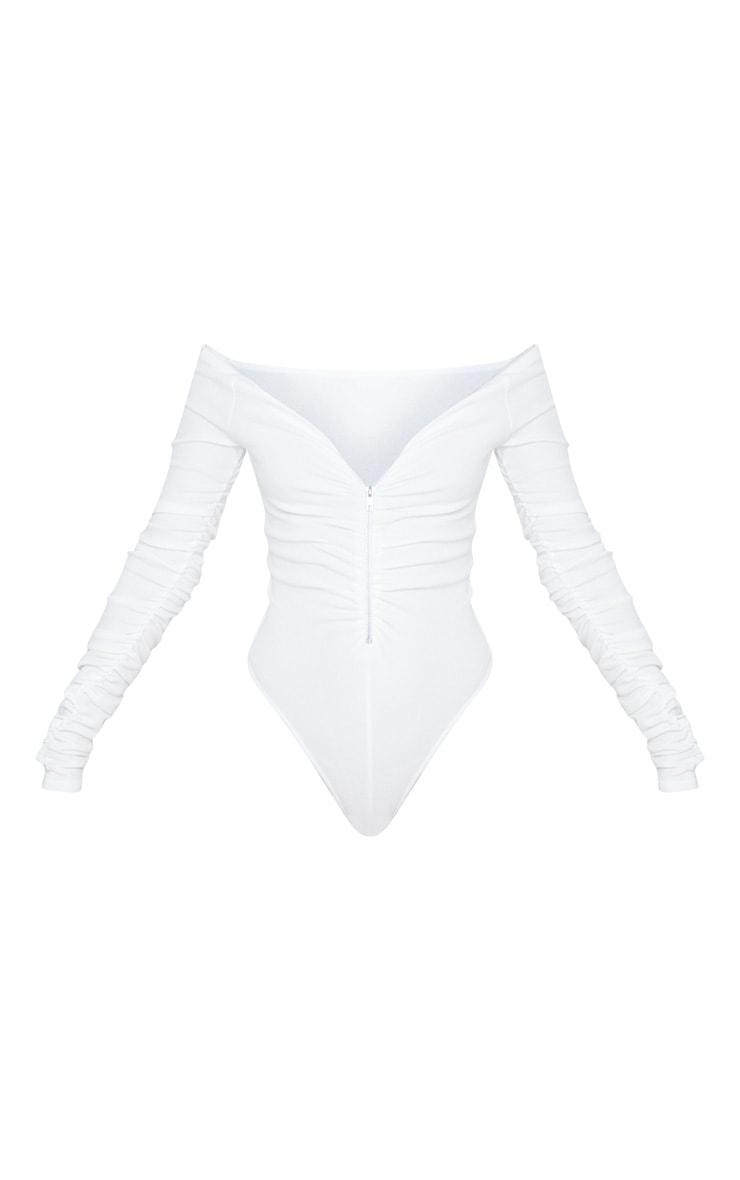 Body blanc zippé à manches froncées et col bateau 3