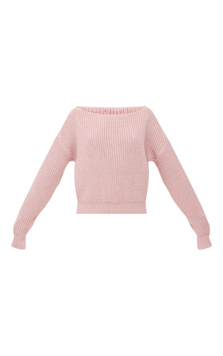Dusty Pink Slash Neck Crop Jumper 3