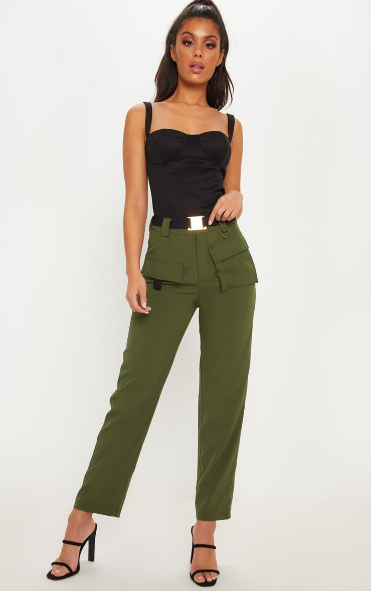Khaki Belted Waist Cargo Pocket Front Trouser