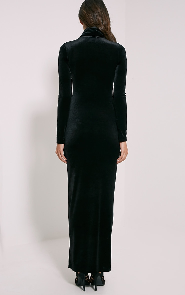 Cindy Black Turtle Neck Velvet Maxi Dress 2