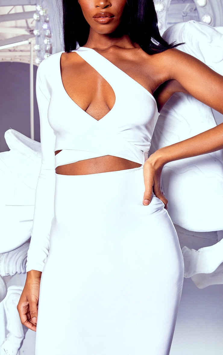White Cut Out One Shoulder Midi Dress 5
