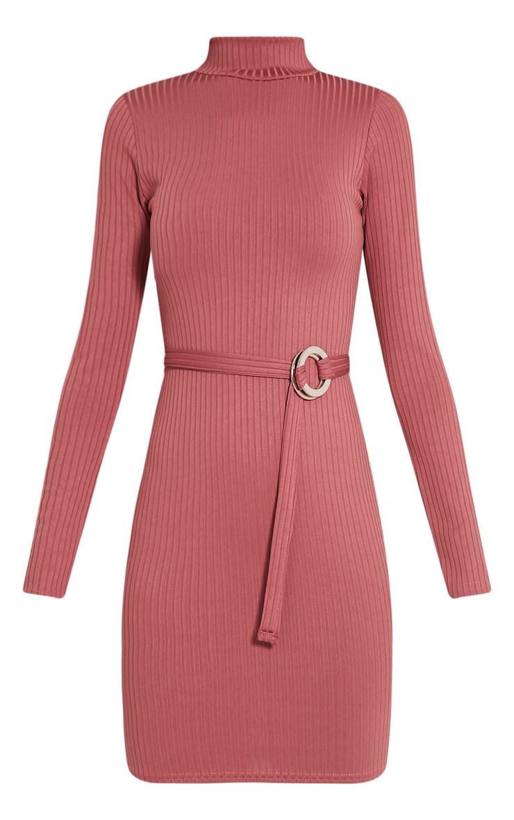 Mya Rose Belt Detail Ribbed Bodycon Dress 3