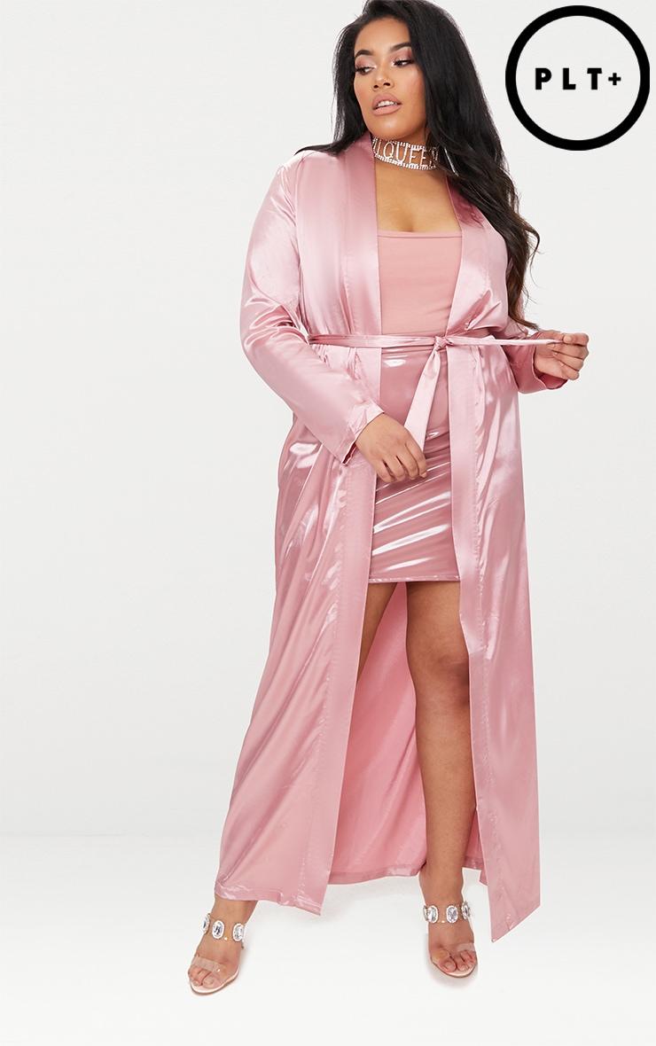 Plus Pink Satin Duster Jacket 2