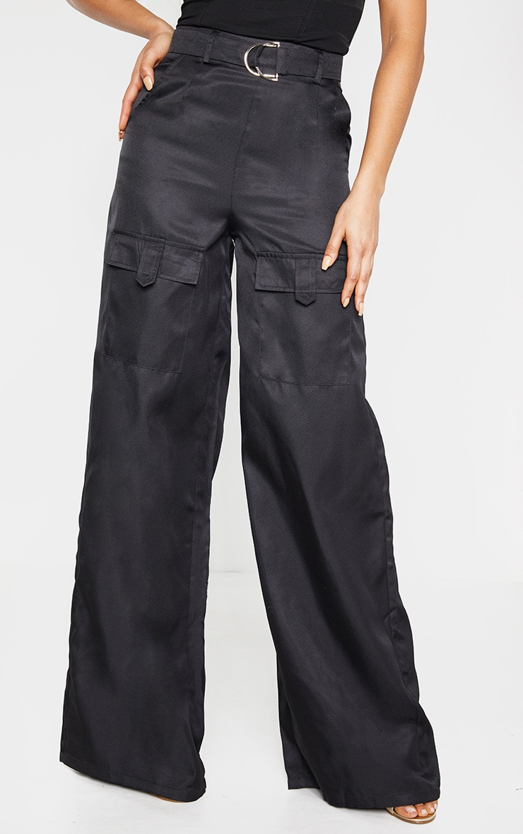 Tall Black Belted Cargo Wide Leg Trouser  2