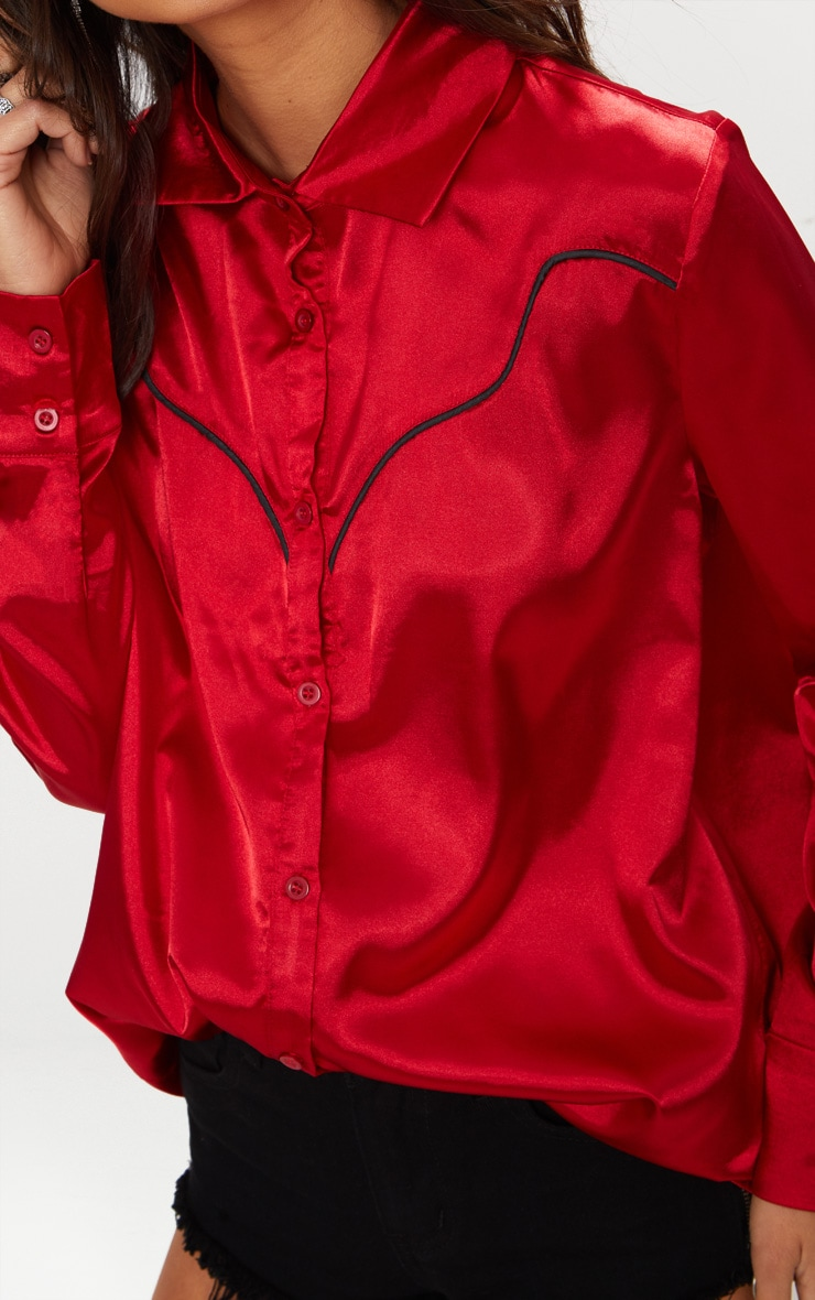 Red Satin Western Shirt 5