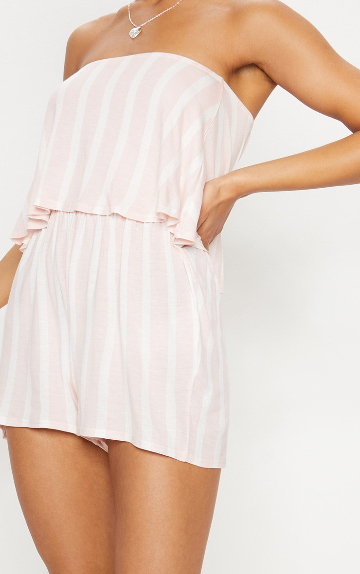 Pink Striped Bandeau Layered Playsuit 5