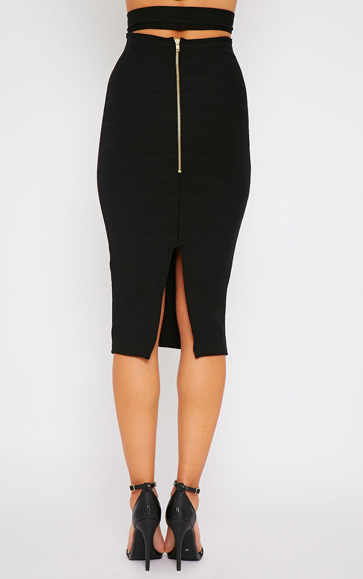 Jaimie Black Cut Out Bandage Midi Skirt 2
