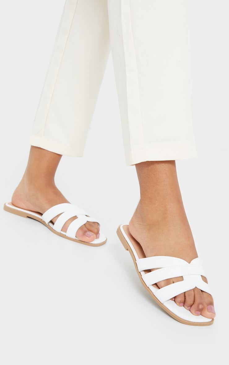 White Wide Fit Cross Strap Mule Flat Sandals 2