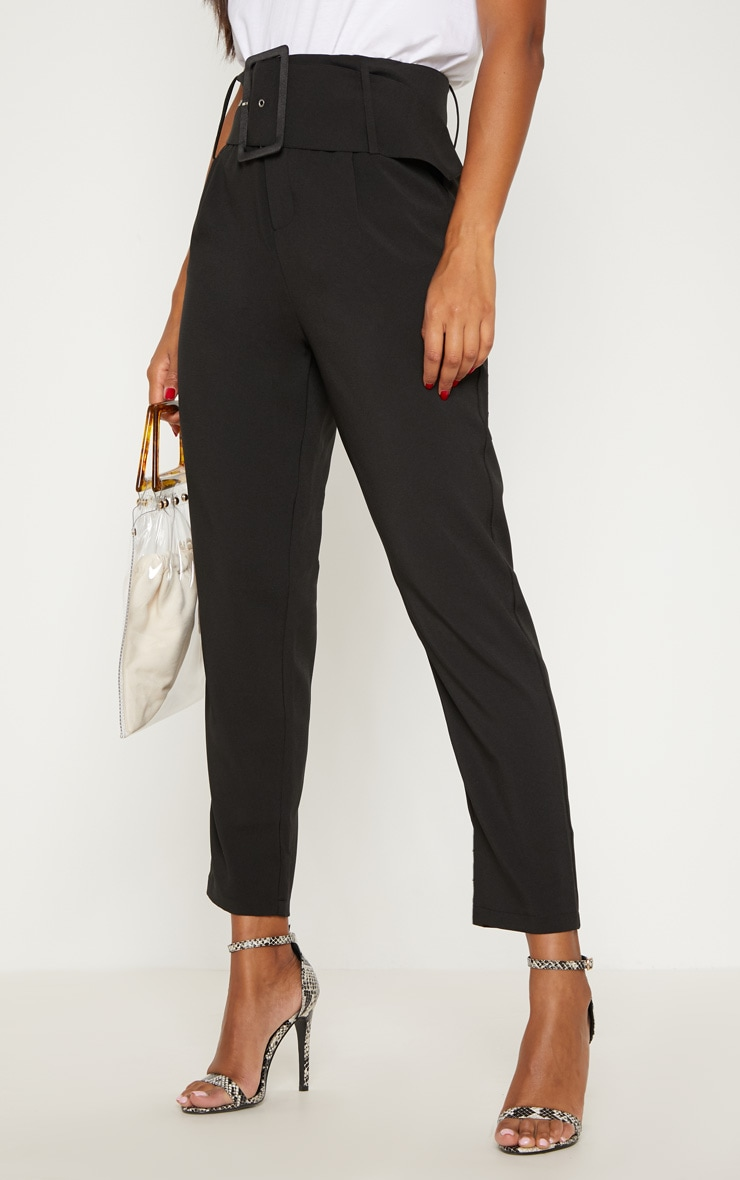 Black Super High Waisted Belted Tapered Trouser 2