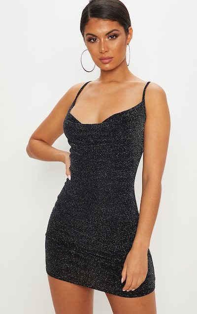 Black Textured Glitter Cowl Neck Bodycon Dress